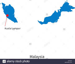 map malaysia vector detailed vector map of malaysia and capital city kuala lumpur