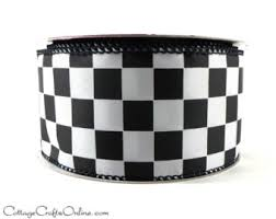 black and white wired ribbon wired ribbon 2 1 2 black and white check gingham plaid ten