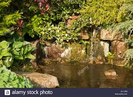 ornamental rock garden with pond stock photo royalty