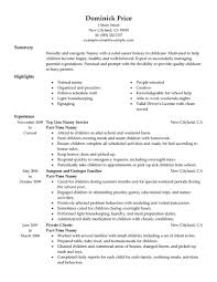 Examples Of Skills In A Resume by Best Part Time Nanny Resume Example Livecareer