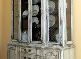 french china cabinet hutch white gray blue gold distressed care