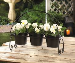 crittercreekranch u0027s booth 3 black metal flower pots and plant