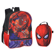 marvel boys spiderman molded head pocket backpack red blue kid