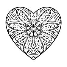 doodle heart mandala coloring outline floral design element