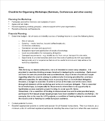 workshop planning checklist templates 7 free word pdf documents