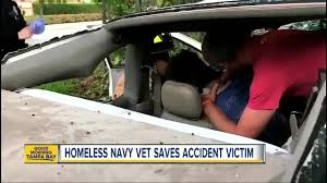 homeless veteran rushes to save victim after life threatening car
