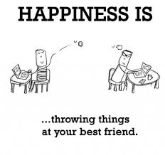 Happiness Is Meme - happiness is throwing things at your best friends insult meme