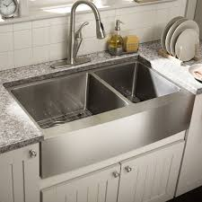 White Kitchen Faucet by Sinks Stainless Steel Divided Apron Sink With Chrome Faucet And