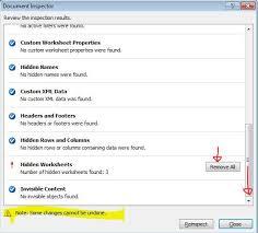 remove hidden sheets with u201cinspect document u201d or vba wmfexcel