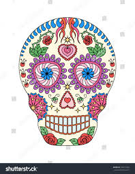 lovely human skull covered flowers stock vector 334771685