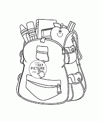 bag with supplies coloring page for kids back to