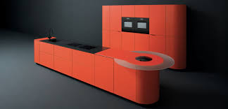 Black Kitchen Cabinet by Amazing L Shape Kitchen Come With Orange Color Gloss Kitchen