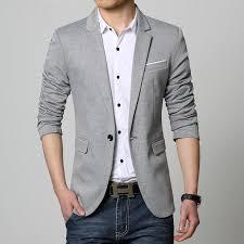 casual blazer slim fit casual jacket cotton blazer jacket single button
