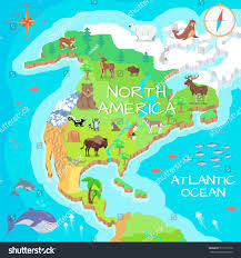 East America Map by North America Isometric Map Flora Fauna Stock Vector 513171076