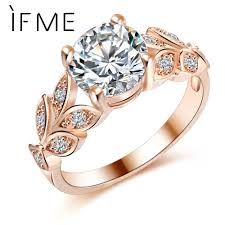 new fashion rings images If me wedding crystal silver color rings leaf engagement gold jpg