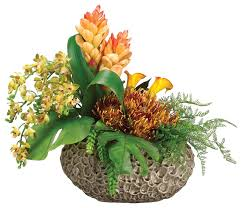 Silk Floral Arrangements Phalaenopsis Orchids Protea Ginger And Calla Lilies Silk Floral