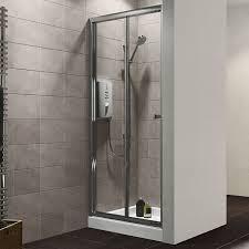 B Q Shower Screens Over Bath Plumbsure Bi Fold Shower Door W 800mm Departments Diy At B Q