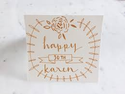birthday cards gold calligraphy custom non