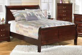 South Coast Bedroom Furniture By Ashley 4 Piece Sleigh Bedroom Set In Dark Redbrown Ashley Bed Sleigh Bed