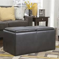 ashley furniture hodan faux leather flip top storage ottoman in marble