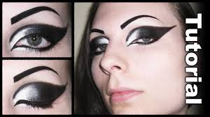 Cat Eye Makeup Halloween Dramatic Gothic White To Black Extended Winged Cat Eye Makeup