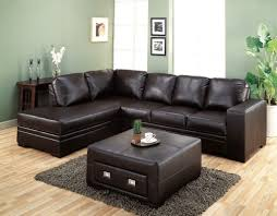 Small Leather Sofa Living Room Durable Dark Leather Genuine Upholstery Sectional