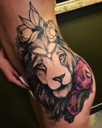 lion and flowers hip tattoo u2013 tattoos center