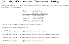 pay to bid auction auctioneer wants to buy 5 units calculate the out chegg