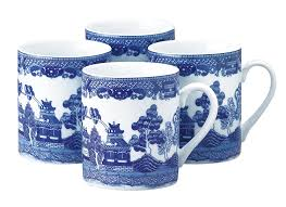 Porcelain Coffee Mugs by Amazon Com Hic Blue Willow Coffee Tea Mug Set Fine White