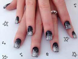 black u0026 silver acrylic nail design nails by me pinterest