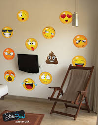 amazon com 12 large emoji faces wall graphic decal sticker 6052