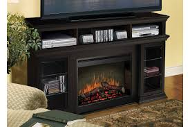 furniture black media cabinet with fireplace and shelf with glass