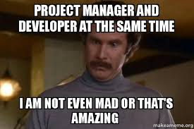 Anchorman Meme - project manager and developer at the same time i am not even mad