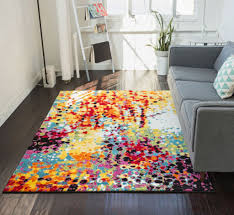Red Blue Rug Impasto Multi Geometric Red Yellow Blue Modern Abstract Painting