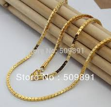 box chain gold necklace images Popular long necklace styles 3mm width gold box chain jewelry mens jpg