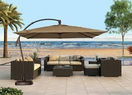 10 Ft Offset Patio Umbrella 10 Foot Wide Rectangular Offset Patio Umbrella With Solar Lights