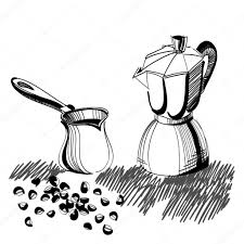 sketch of mocha coffee maker and turkish cezve with some coffee