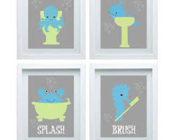 picturesque bathroom wall art kids coral mint navy in decor home