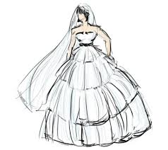 drawn wedding dress dress style pencil and in color drawn