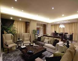 lovely large living room design with brown and white color scheme