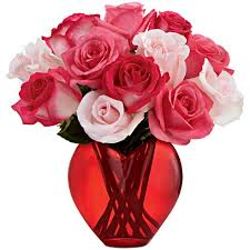Flowers Delivered With Vase Loving Heart Rose Bouquet At Send Flowers