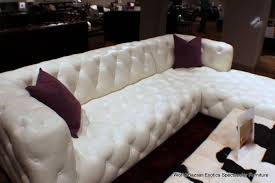 White Leather Tufted Sofa 118 Sectional Bright White Top Grain Leather Tufted Lsf Sofa Rsf