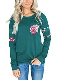 dokotoo womens casual crewneck floral fashion sweatshirt blouses