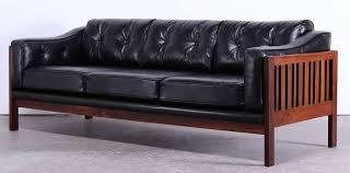 Black Leather Mid Century Sofa Mid Century Modern Rosewood And Black Leather Sofa At 1stdibs