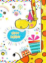 giraffe with gifts happy birthday invitation birthday greeting