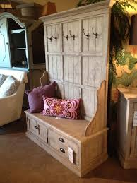 entryway hall tree coat hanger with storage bench from reclaimed