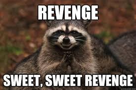 Revenge Memes - revenge sweet sweet revenge evil plotting raccoon quickmeme