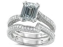 emerald cut wedding set emerald cut white topaz diamond engagement ring wedding set