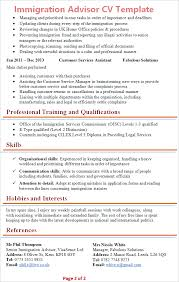 example of cv layout immigration advisor cv template tips and download cv plaza