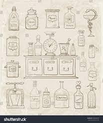 sketches vintage drugstore objects on vintage stock vector